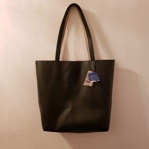 NWT - Simply Styled Reversible Black Tan Tote Bag